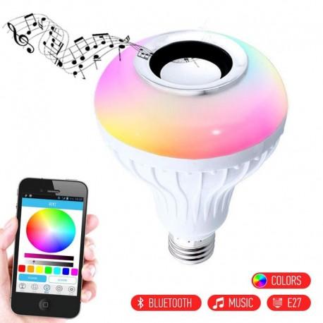 LED RGB λάμπα E27 με Bluetooth για αναπαραγωγή μουσικής με τηλεχειριστήριο