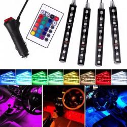 Σετ 4 RGB LED ταινίες αυτοκινήτου για εσωτερική διακόσμηση