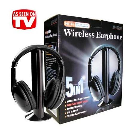 Ασύρματα Ακουστικά 5 σε 1 με Fm Radio, λειτουργία Internet Chat & Baby Monitor