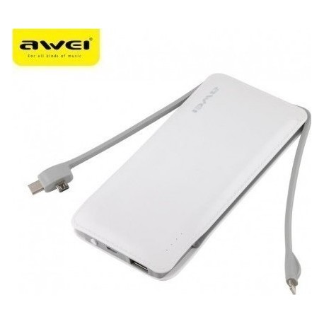 Power Bank 10000mAh 2A με καλώδια Lightning, Micro USB και Type-C  Awei
