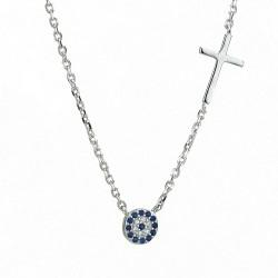 Κολιέ με στόχο και σταυρό  ασήμι 925