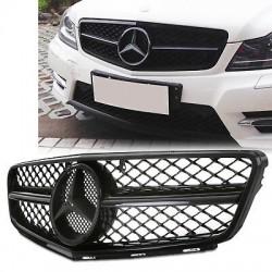 Mercedes W204 AMG Design Μάσκα εμπρός με σήμα 07-14 Μαύρη