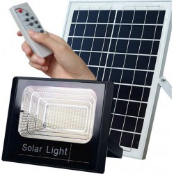 Ηλιακός Solar Προβολέας Αδιάβροχος 100W με Φωτοβολταϊκό Πάνελ, Τηλεκοντρόλ και Χρονοδιακόπτη