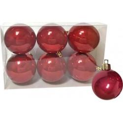 Χριστουγεννιάτικες μπάλες κόκκινες 6 τμχ