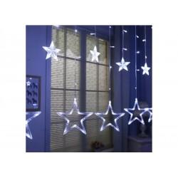 Χριστουγεννιάτικα Φωτάκια Κουρτίνα 5μ Με 12 Αστέρια LED Λευκά ΟΕΜ 040