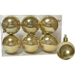 Στολίδι Μπάλα Γυαλιστερή χρυσή 8x8cm 6τμχ