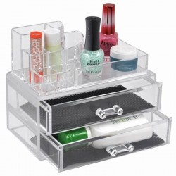 Acrylic Makeup Cosmetic Lipstick Grid Holder Organizer 2 Drawer Stand Case Nail