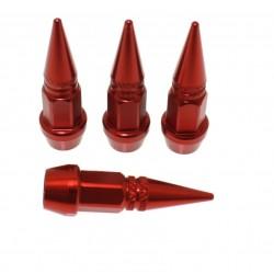 Βαλβίδες Τροχών Αλουμινίου 4τμχ Τύπου Καρφί Κόκκινες